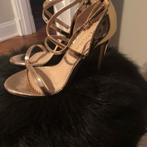 Shoes - NWT rose gold strappy stiletto sandals size 7